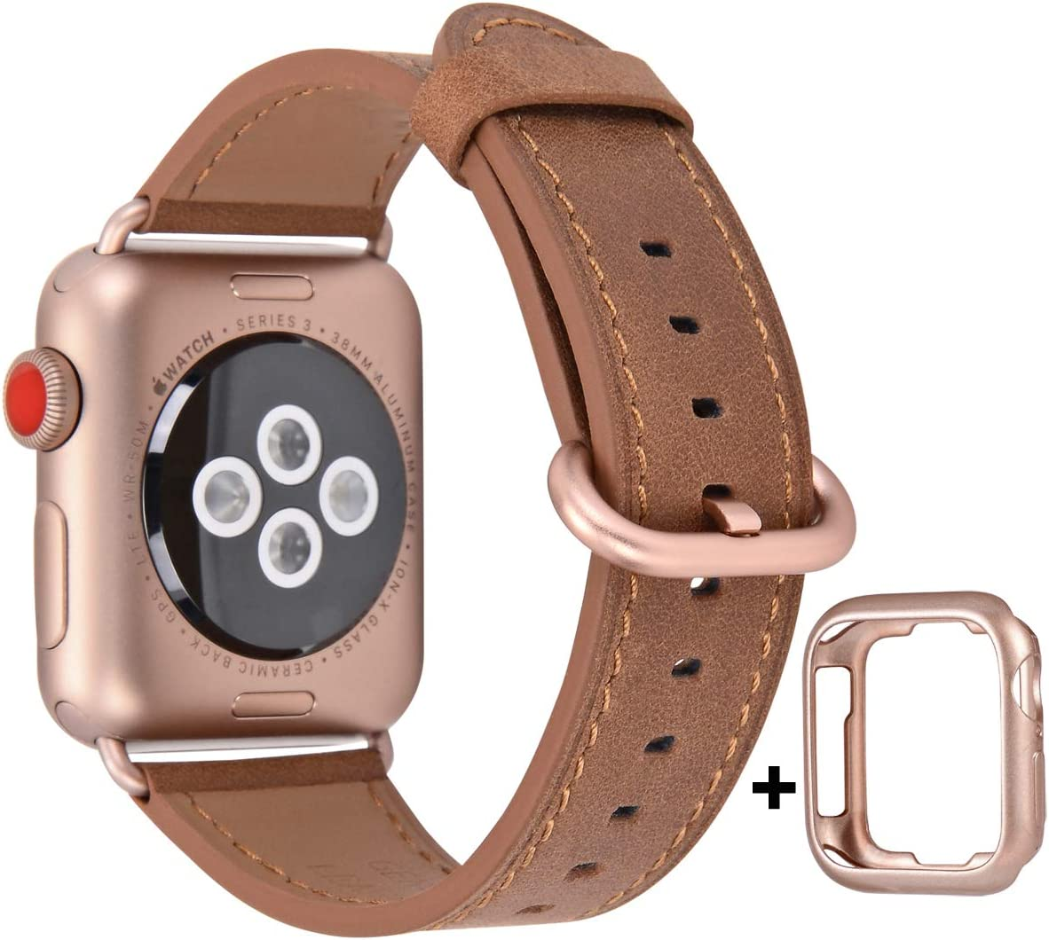JSGJMY Compatible with Apple Watch Band 38mm 40mm 42mm 44mm Women Men Genuine Leather Replacement Strap for iWatch Series SE 6 5 4 3 2 1 (Camel with Series 5/4/3 Rose Gold Clasp, 38mm/40mm S/M)