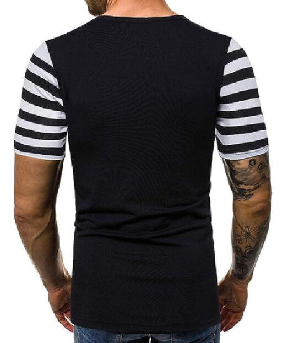 M/&S/&W Men Short Sleeve Crew Neck Slim Fit Tee Striped T Shirts