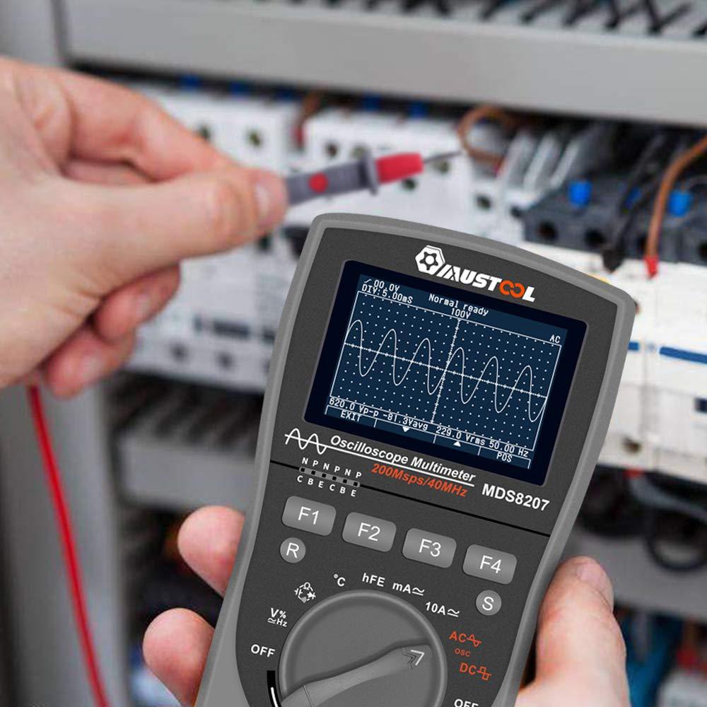 RMS DMM AC//DC comprobador de tensi/ón corriente OSC 6000 cuentas Mult/ímetro MUSTOOL MDS8207 con almacenamiento inteligente 2 en 1 digital 40 MHz 200 Msps//S Osciloscopio autom/ático