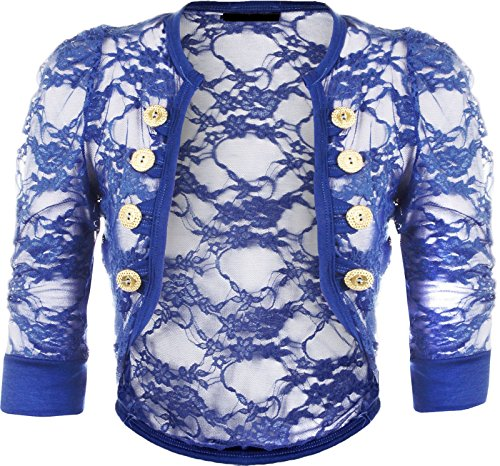 Military Style Cropped (Rimi Hanger Womens Lace Button Shrug Ladies Military Style Ruched Sleeve Cropped Bolero Cardigan Royal Blue S/M US 4-6)