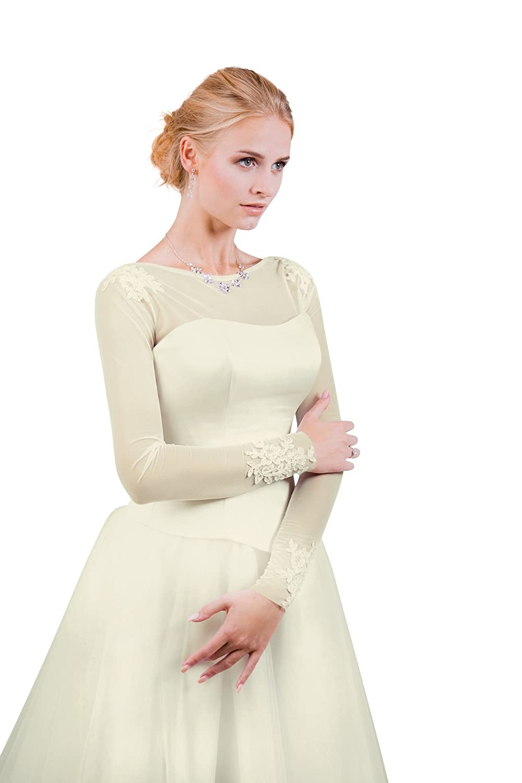 Damen Braut Bolero Brautkleid aus Stretchtüll - E513: Amazon.de ...