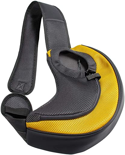 Cngstar Pet Dog Sling Carrier Breathable Mesh Travel Safe Sling Bag Carrier for Dogs Cats,Yellow