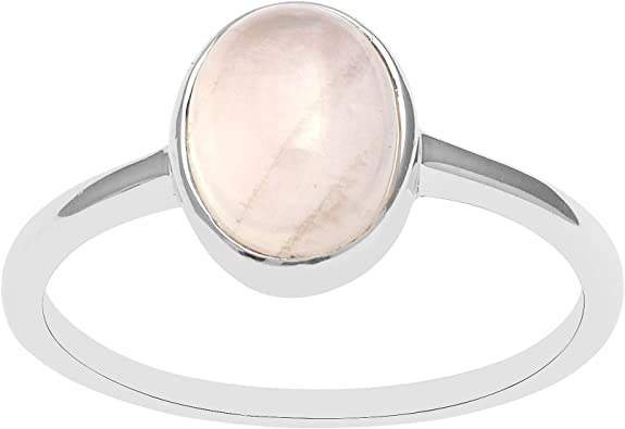 bague argent avec quartz rose