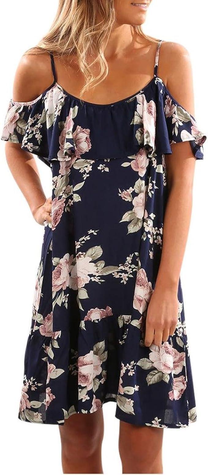 Zarupeng Damen Blumen Rüschen Kleid, Sommer Sling Schulterfrei Minikleid  Beach Party Dress Strandkleid Elegant Partykleid Tunikakleid Sommerkleider