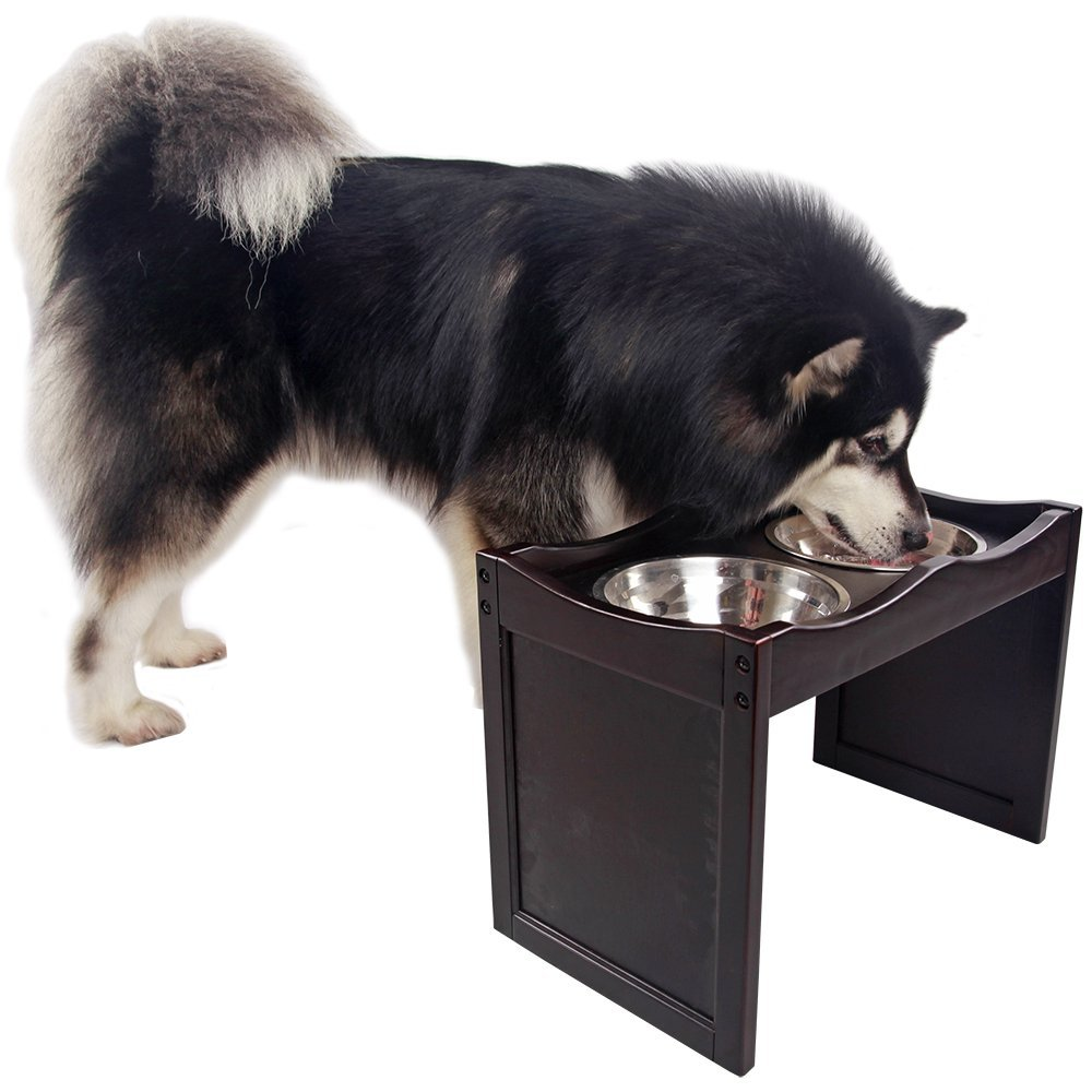 Petsfit Raised Dog Bowls for Large Dogs Wooden Dog Food Stand with 2 Stainless Steel Bowls 21 x 12 x15 Inch by Petsfit