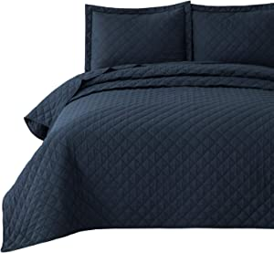 Bedsure Quilt Set Navy King Size (106x96 inches) - Diamond Stitched Pattern Bedspread - Soft Microfiber Lightweight Coverlet for All Season - 3 Pieces (Includes 1 Quilt, 2 Shams)