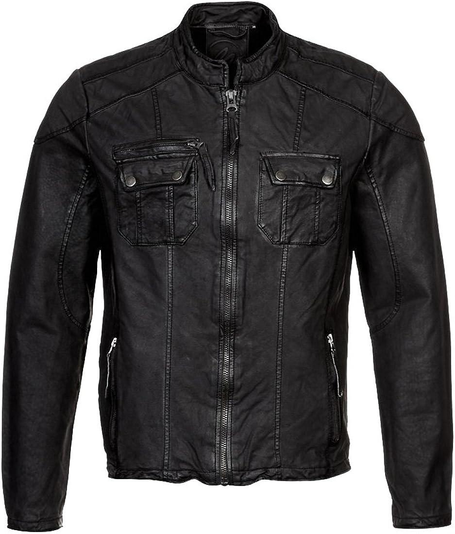 Mens Genuine Lambskin Leather Jacket Slim Fit Moto Biker Jacket T373