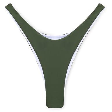 ebd4195f1d2 COSPOT Classic Black Brazilian Bikini Bottom Thong Cheeky V Style For  Women,Green,L