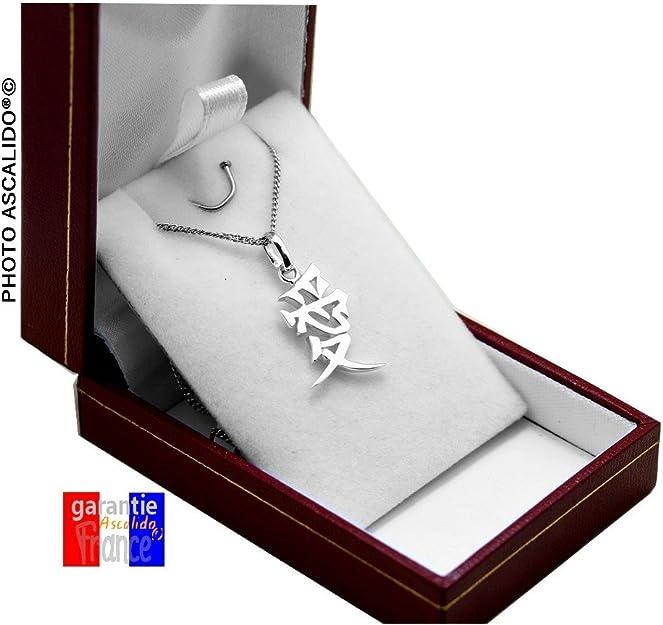Pendentif symbole Chinois AMOUR En argent massif 925 avec chaine 50cm et /Écrin boite