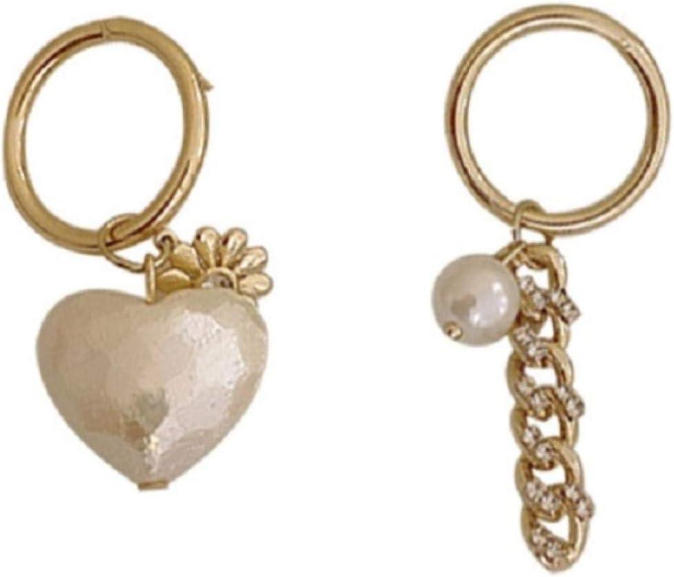 ZHUANQIAN Pendientes de Temperamento de Personalidad, Gota de Oído Irregular de Diamantes de Imitación de Mosaico en Forma de Corazón, para Regalo de Mujeres y Niñas, 2 Pares