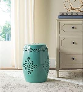 Safavieh Quatrefoil Ceramic Decorative Garden Stool, Light Blue