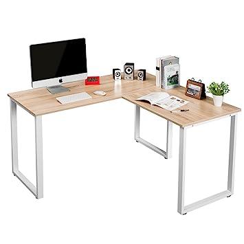LIFE CARVER Sturdy Large L Shaped Office Desk Corner Computer Desk  Workstation For Home Office