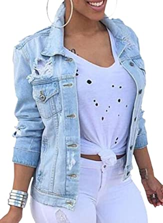 0201fef420f9 OTW-Women Plus Size Ripped Distressed Denim Jean Jacket Coat Cowboy Blue XS