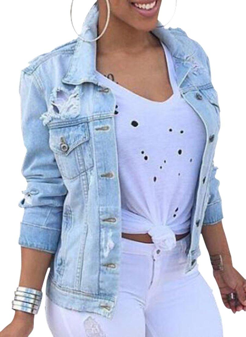 OTW-Women Plus Size Ripped Distressed Denim Jean Jacket Coat Cowboy Blue M