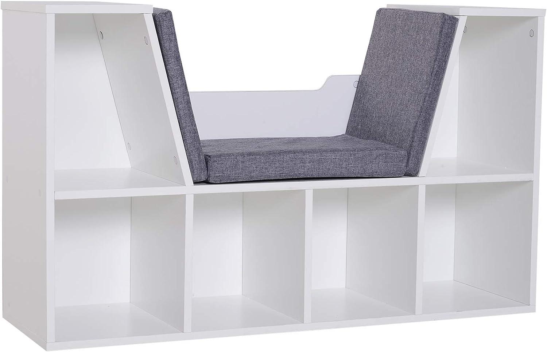HOMCOM Bookcase Shelf Storage Seat w/Cushion Sideboard Kids Children Reading Bedroom Living Room Organiser White
