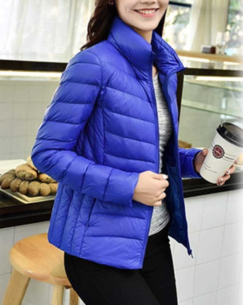 Donna Giacche Piumino Impacchettabile Cappotto Ultraleggeri Trapuntato Inverno Giacca