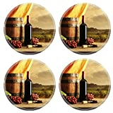 MSD Round Coasters Red wine bottle barrel and vineyard in sunset Image 22550615 by MSD Customized Tablemats Stain Resistance Collector Kit Kitchen Table Top DeskDrink Customized Stain Resistance Coll
