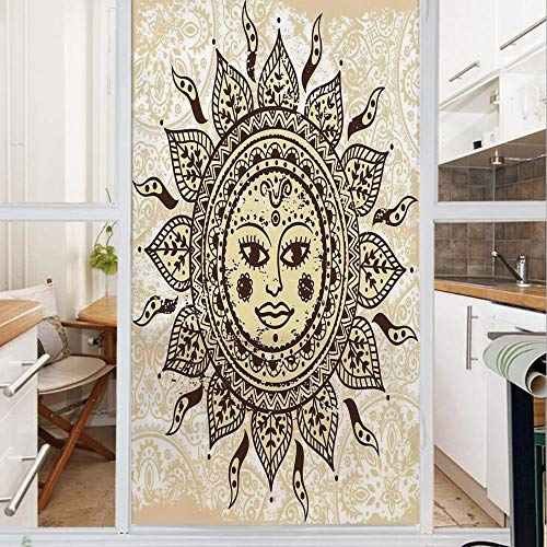 Decorative Window Film,No Glue Frosted Privacy Film,Stained Glass Door Film,Ethnic Female Sun with Floral Cheeks Unique Indian Tribal Patterns Purity Symbol,for Home & Office,23.6In. by 35.4In Brown Y