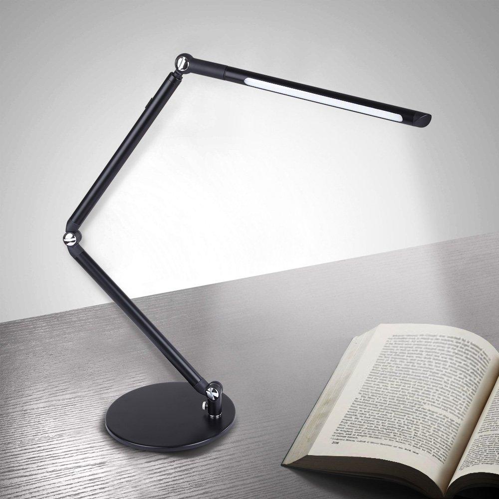 Dimmable LED Desk Lamp, Kshioe Metal Architect Swing Arm LED Table Lamp  With Aluminum Alloy Base (Eye Care Technology, Dimmable, 3 Level Dimmer)  Task Light ...