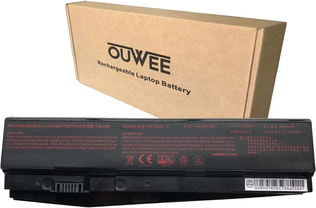 OUWEE N850BAT-6 Laptop Battery Compatible with N870HK Z6-KP Z7M-KP T58-T1 T6TI DR5 DR7 Plus K17-8U Sabre 17-W8 ST Plus Series 6-87-N850S-6E71 6-87-N850S-6U71 6-87-N850S-4U41 11.1V 62Wh 5300mAh 6-Cell