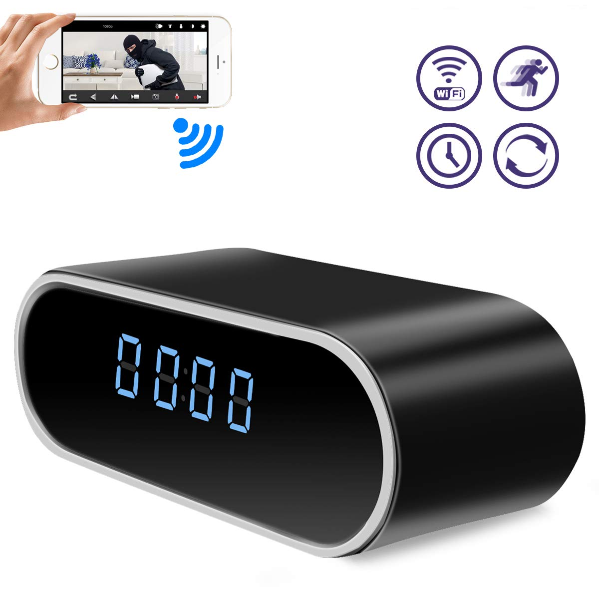 Spy Hidden Camera, WHDSWL Alarm Clock 1080P Security Nanny Wi-Fi Camera, with Night Vision Motion Detection Loop Recording Office Home Support iOS Android PC Remote Real-time Video