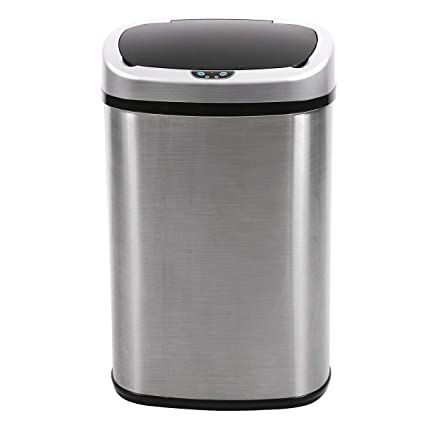 BestOffice Trash Can Kitchen Trash Can Bathroom Tall Auto 13 Gallon  Stainless Steel Garbage Can Metal