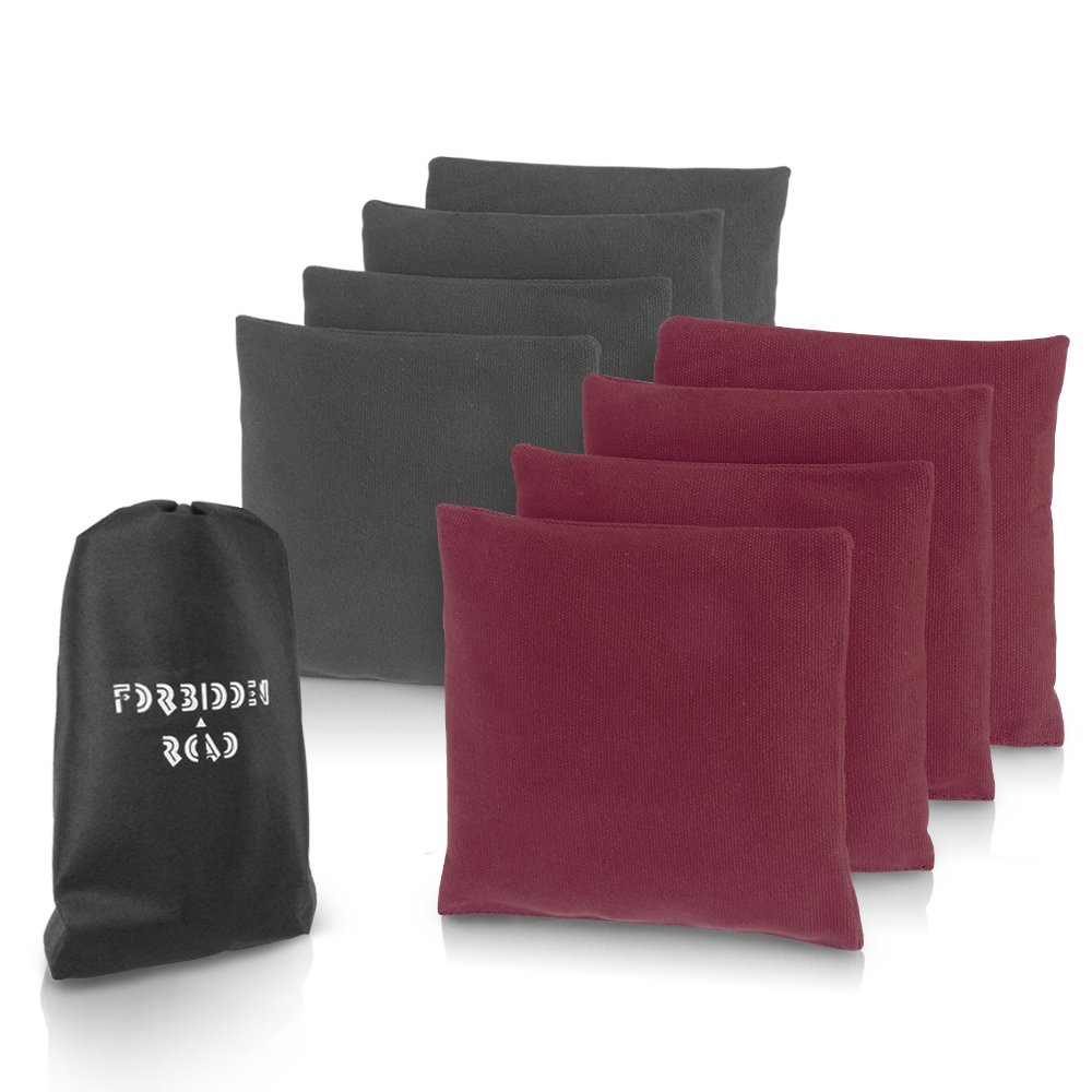 Forbidden Road Cornhole Bag Bean Bags Pack of 8 for Tossing Core Hole Games with Duck Canvas Material Cover and PP Plastic Pellets Inside - Free Carrying Bag Included (Gray & Wine Red, 14OZ)