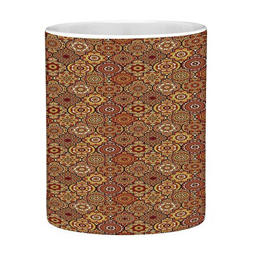 Funny Coffee Mug with Quote Moroccan 11 Ounces Funny Coffee Mug Vintage Hand Drawn Style Ottoman Figures Ancient Trellis Floral Motifs Orange Yellow ()