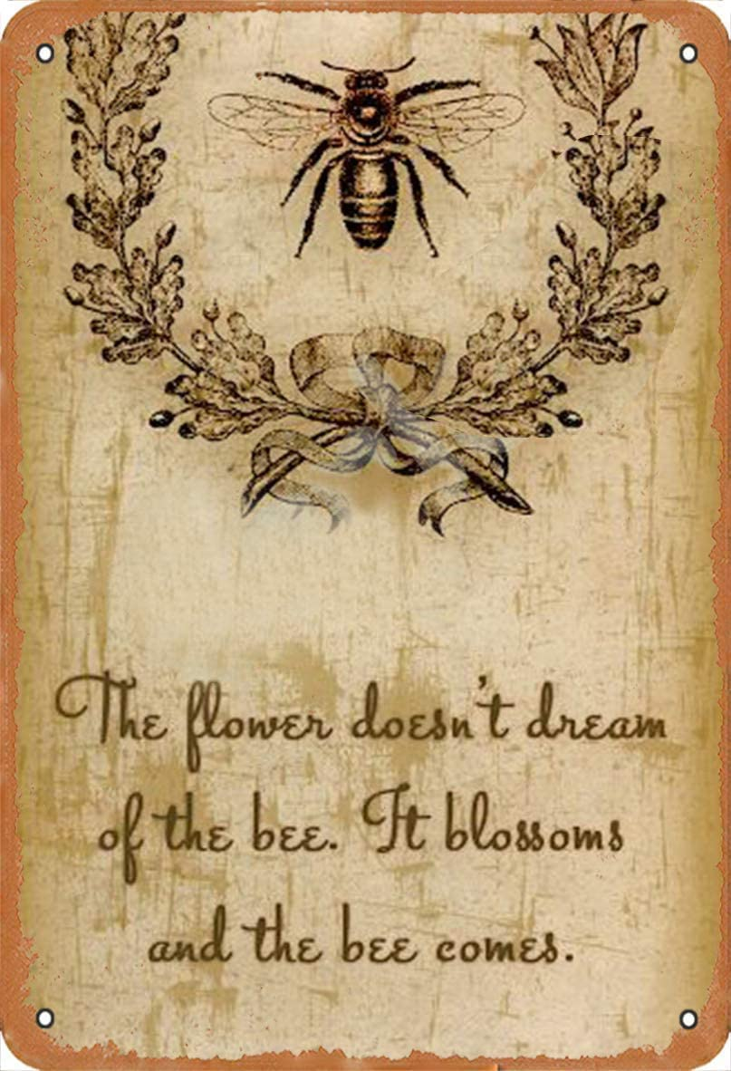 The Bee Bee Insect Chic Retro Metal Tin Sign Vintage Aluminum Sign for Home Coffee Wall Decor 8x12 Inch