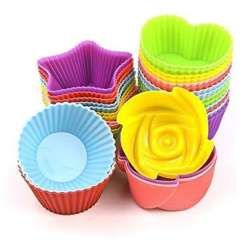 hisight reutilizable antiadherente de silicona moldes para cupcakes 24 pcs calor resisant hornear tazas para horno