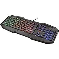 Trust Gaming GXT 830-RW Avonn Gaming Toetsenbord Keyboard (QWERTY Layout, Rainbow Wave LED Verlichting, 12 Multimediatoetsen) Zwart