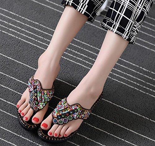 Zapatos Negro tacón de la étnicos DANDANJIE Las Playa Alto Que Zapatos cuña del Blanco de de Sandalias caseros Zapatillas Negro Verano y y Mujeres de Chanclas Chanclas Moda talón Remata de xAnqAgwH