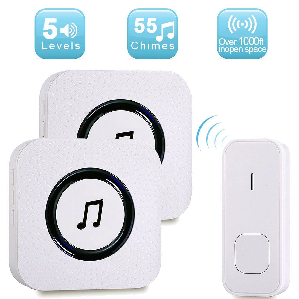 Wireless Doorbell Kits,Weton Wireless Waterproof Chime Kit Doorbells for Home Operating at 1000ft/300m Range,55 Chimes,1 Remote Button and 2 Plug-in Receivers for Home Office,No Batteries Require