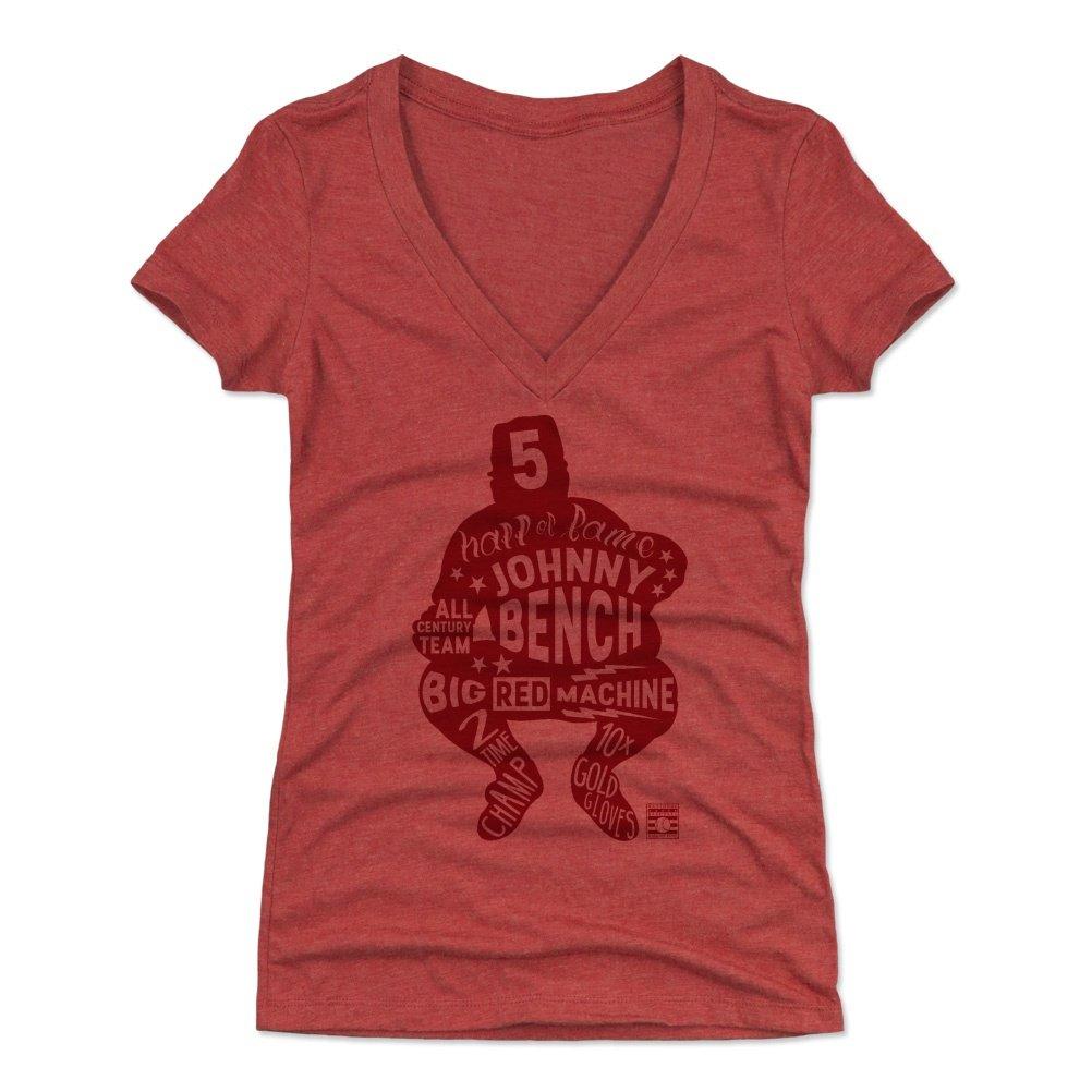 500レベルのジョニーベンチのレディースTシャツ – Cincinnati野球ファンギア野球の殿堂の公式ライセンス – ジョニーベンチLetters R Small Tri Red B0784286F9