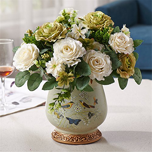 Pastoral Rose Artifical Flower Hand-Painted Birds-Printed Retro Ceramic Vase Suit Home Decoration Silk Simulation Flowers Ornament,Green+White - Bird Hand Painted Vases