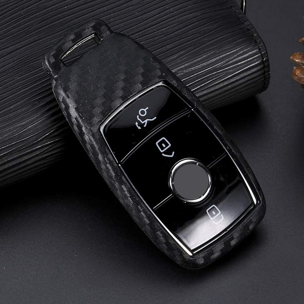 Benz New Key TM Soft Silicone Carbon Fiber Style Smart keyless Remote Key Fob case Cover for Mercedes-Benz E-Class S-Class W213 2016 2017 2018 2019 Keychain Royalfox