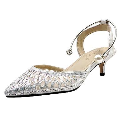 AIYOUMEI Damen Kitten Heels Pumps mit Strass Sandalen Cut Out Riemchenpumps Kleiner Absatz 5cm Schuhe
