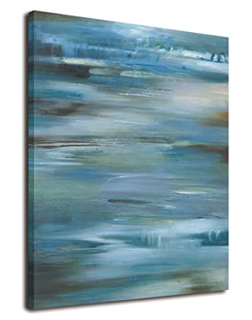 Indigo Blue Gray And White Abstract Art