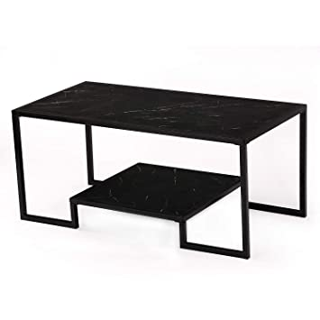 Amazing Mcneil 40 Marble Look 2 Tier Coffee Table Tea Snack Cocktail Sofa Side End Table Tv Stand Black Black Granite Gamerscity Chair Design For Home Gamerscityorg