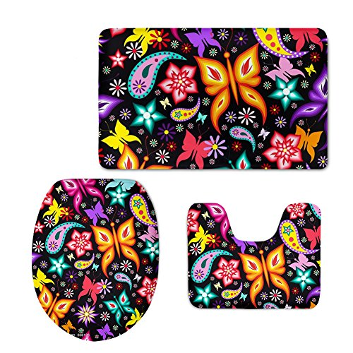 Butterfly Paisley Rug (CHAQLIN Vintage Bath Rug Set Butterfly Paisley Design Bathroom Rug Contour with Lid Toilet Cover (3 Piece))