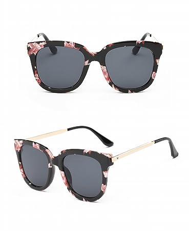 Große Rahmen Myopische Sonnenbrille Runde Gesicht Brille Sonnenbrille Weibliche Retro Persönlichkeit Paket Blumenrahmen Schwarz Grau Linse ZGyS2