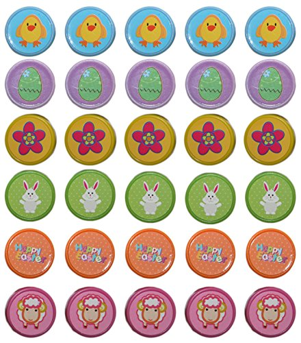 Set of 30 Easter Children's Craft Stamps! 6 Assorted Stamps with 6 Assorted Colors! Adorable Stamps Perfect for Easter Crafts, Easter Basket Toys, Scrapbooking, and More! Conforms to ASTM-D4236