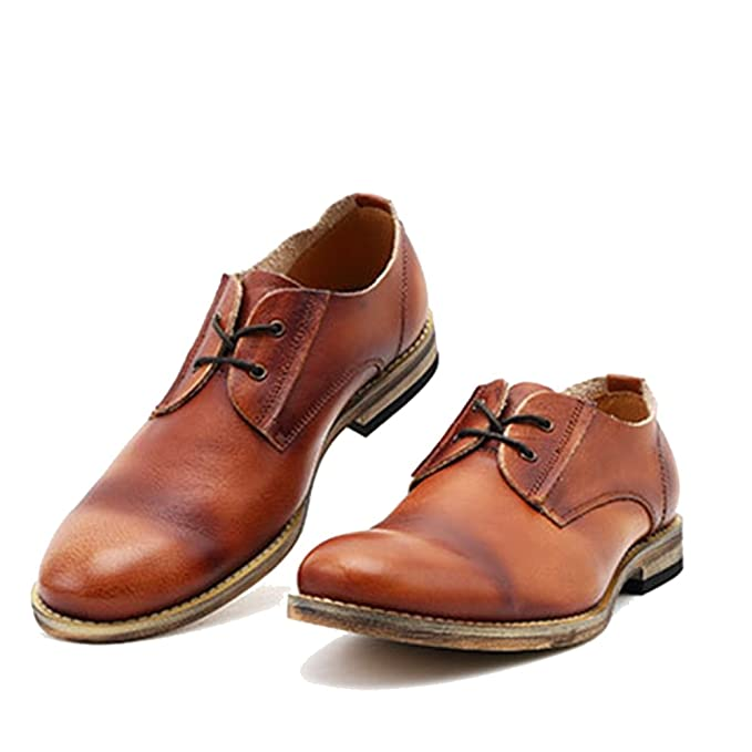 MERRYHE Zapatillas Para Hombre Con Cordones Derby Vintage Blucher Zapatillas De Vestir De Cuero Genuino Para Hombres Zapatos De Vestir Formales Para La ...