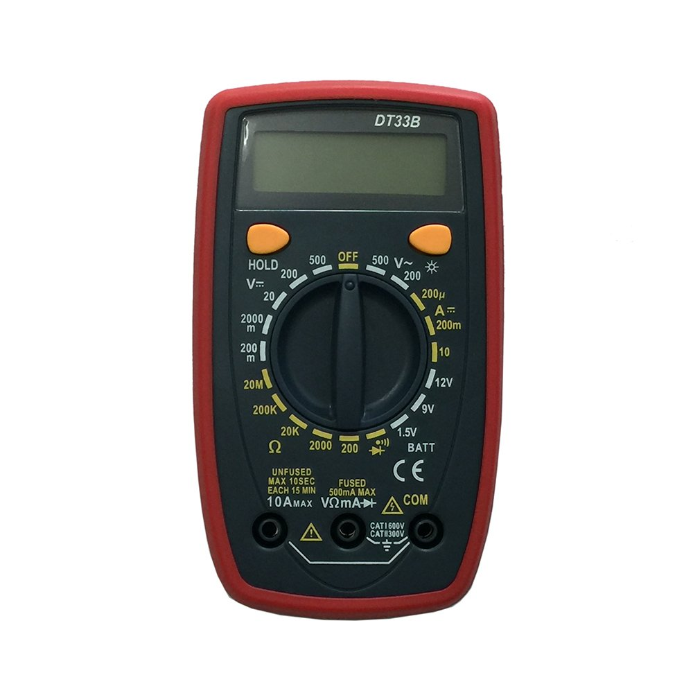 OLSUS DT33B LCD Handheld Digital Multimeter for Home and Car - Red