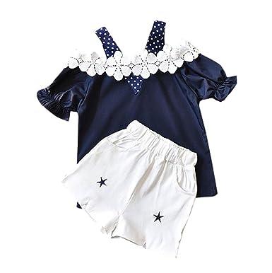 7219135a4f723 Ensembles Shorts Et Haut Fille, Bonjouree T-Shirt à Pois Manches Courtes en  Dentelle