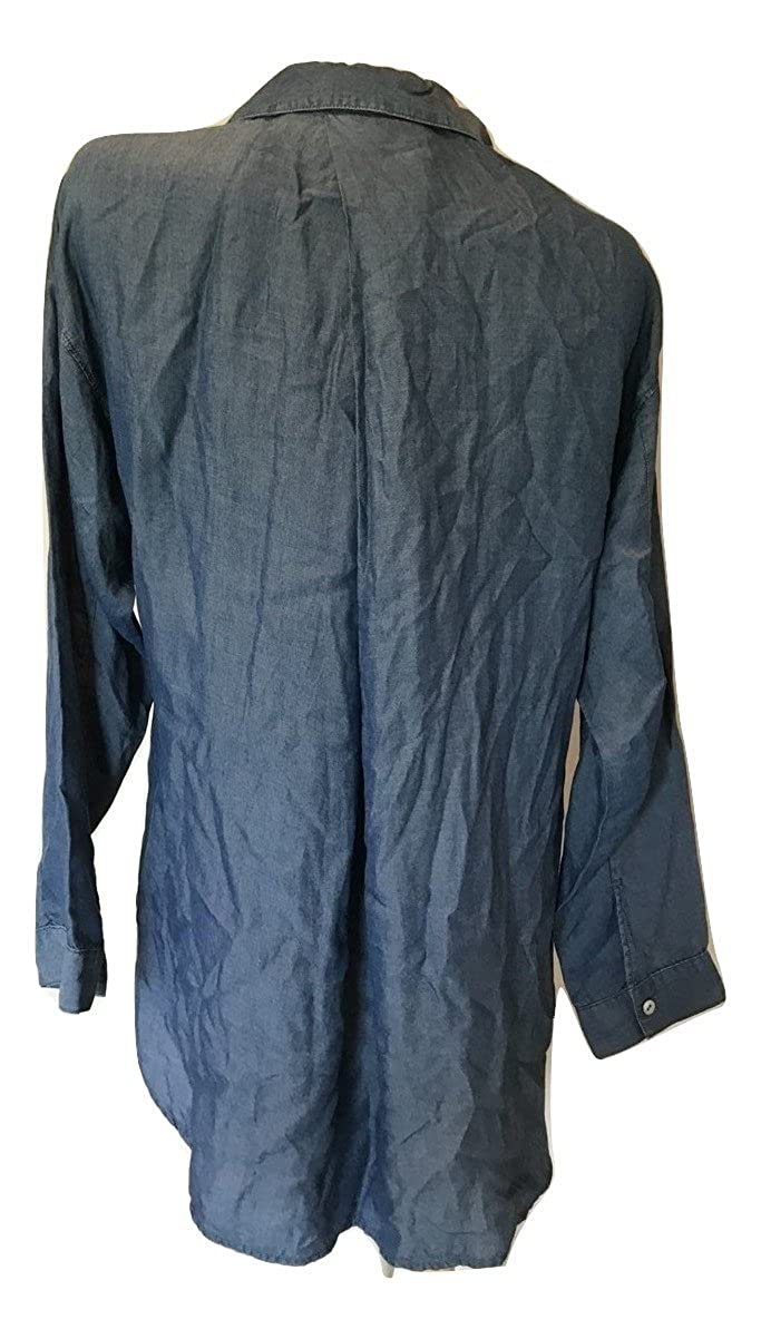 NIC+ZOE Womens Drapey Denim Pullover Shirt Mid Denim Blue Size Large