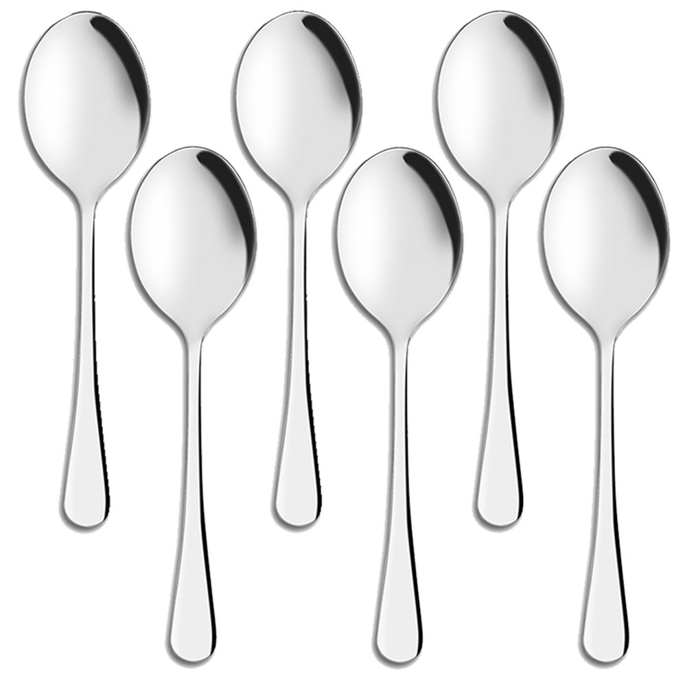 Serving Spoons Buffet, AOOSY 9.8 Inches Stainless Steel Solid Large Buffet Banquet Flatware Kitchen Basics Serving Spoon Tablespoons Big Ladle Set of 6