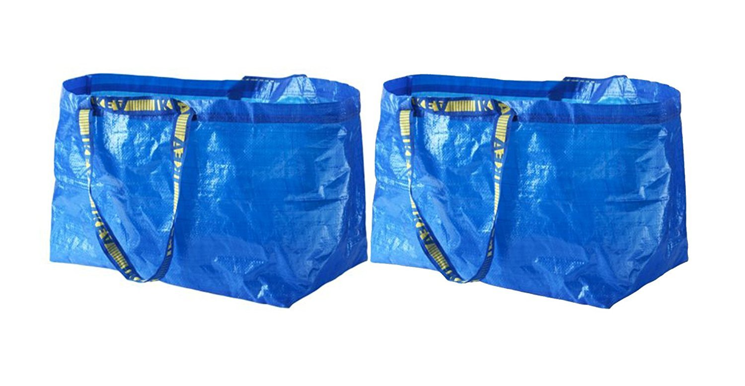 IKEA FRAKTA Carrier Bag, Blue, Large Size Shopping Bag 2 Pcs Set