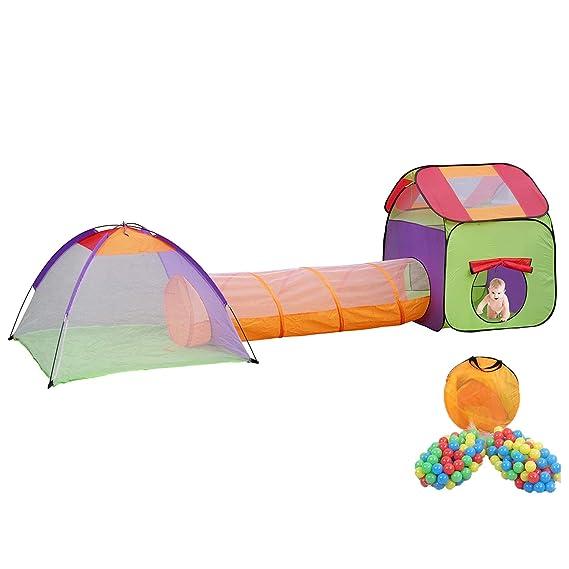 MC Star Plegable Tienda de Campaña Niños Pop-up Qarque Infantil Juego Túnel Interior y Exterior Casa de Juguete y Piscina, 3 partes +200 Oceano Bolas ...