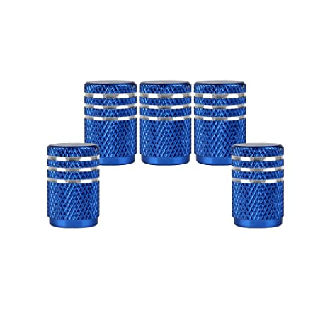 SENZEAL 5 x tapones de válvula de plata alrededor de moto aluminio Neumáticos Caps Azul